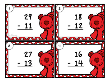 Subtraction without Regrouping Task Cards - Winter Edition