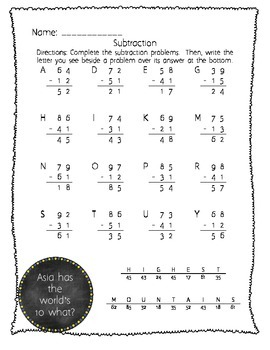 Subtraction without Regrouping/Borrowing Pack with Continent Facts