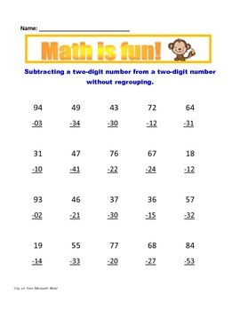 Math: Subtraction without regrouping - Common Core