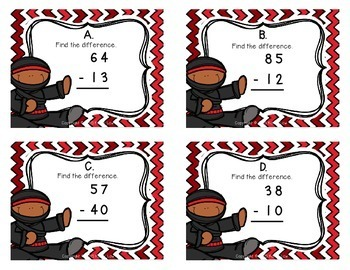 Subtraction w/out Regrouping Task Cards