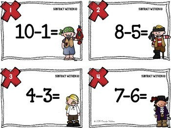 Subtraction Task Cards 0-10