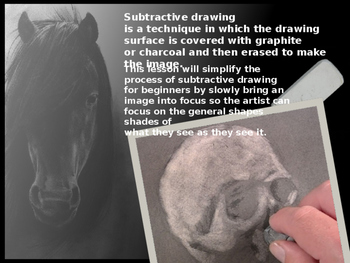 Subtractive / Reductive Charcoal Drawing Intro Lesson #2 from Art Ed Connection.