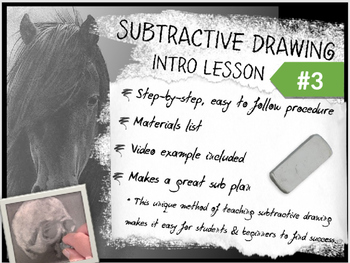 Subtractive / Reductive Charcoal Drawing Intro Lesson #3 from Art Ed Connection.