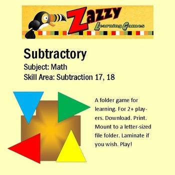 Subtractory Folder Game Subtraction 17, 18