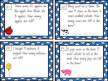 Subtraction from 10 Word Problems