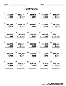 Subtration Worksheets w/without borrowing