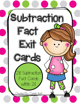 Subtraction within 20 Exit Cards