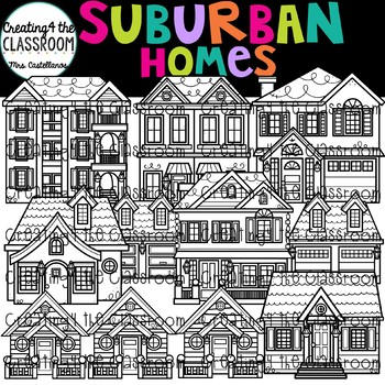 Suburban Homes Clip Art  {Homes Clipart}