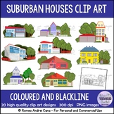 Clip Art Suburban Houses Color and BW