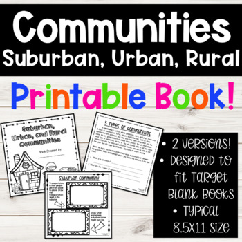 Suburban, Urban, Rural Communities Social Studies 2nd Grade Book