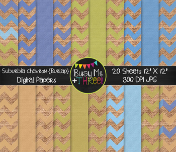 Suburbia Chevron on Burlap Digital Papers {Commercial Use Digital Graphics}