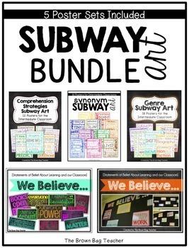 Subway Art Bundle: Genres, Comprehension Strategies, Synonyms, We Believe