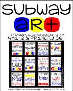 Subway Art Poster Set {White and PRIMARY Set}