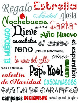 Christmas Words That Start With A.Subway Chart Navidad Christmas Words In Spanish Vector Can Be Resized