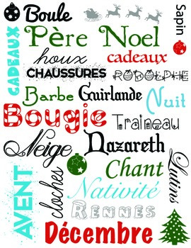 Subway Chart - Noël  / French Christmas vocabulary words (vector can be resized)