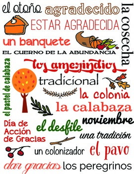 Subway Chart - Thanksgiving.  Spanish vocabulary words (Vector, can be resized)