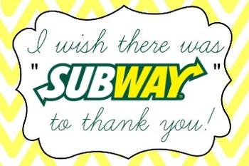 Subway Gift Card Label By The Lemon Teacher Teachers Pay Teachers