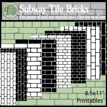 Subway Tile Brick Pattern and Digital Paper {Messare Clips and Design}