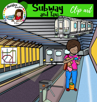 Subway and taxi clip art