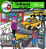Subway and taxi clip art