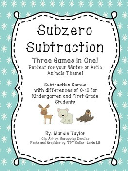 Subzero Subtraction- 3 Games in 1- Kindergarten and First