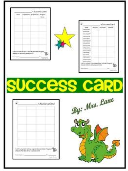 Success Card (A Behavior Management Tool)