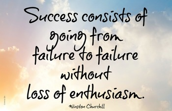 Success Churchill Quote 11x17 Classroom Poster Motivation Character Ed Effort