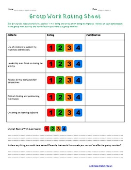 Success Criteria For Group Work: Reflection and Self Assessment Sheets