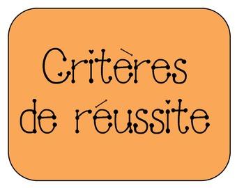 Success Criteria Indicator Display French - Critères de Réussite