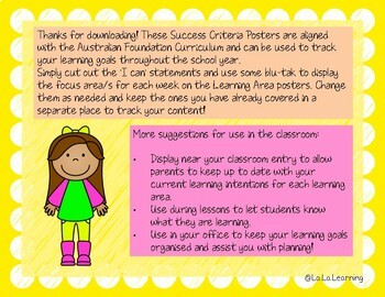 Success Criteria Posters with I Can Statements for Foundation Year