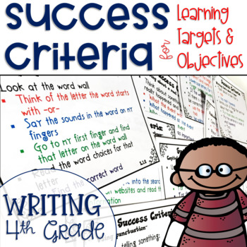 Success Criteria for Common Core Learning Targets in Writing 4th {Editable}