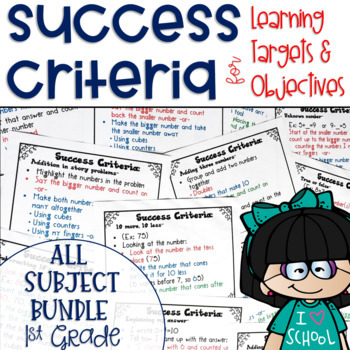 Success Criteria for Common Core Learning Targets BUNDLE 1st grade {Editable}
