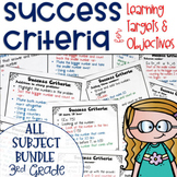 Success Criteria for Common Core Learning Targets BUNDLE 3rd grade Editable