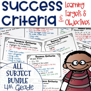 Success Criteria for Common Core Learning Targets BUNDLE 4th grade {Editable}