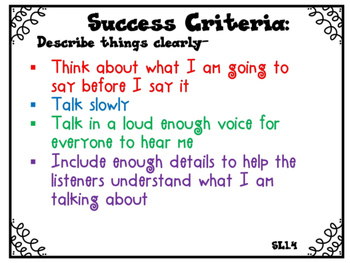 Success Criteria for Common Core Learning Targets Speaking & Listening 1st grade