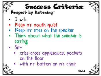 Success Criteria for Common Core Learning Targets Speak & Listen 1st {Editable}