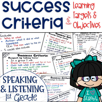 Success Criteria for Common Core Learning Targets Speaking