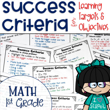 Success Criteria for Common Core Learning Targets in Math 1st grade {Editable}