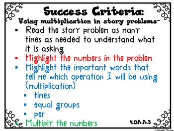 Success Criteria for Common Core Learning Targets in Math 4th {Editable}