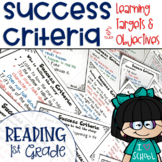 Success Criteria for Common Core Learning Targets in Reading 1st {Editable}