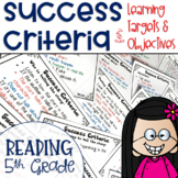 Success Criteria for Common Core Learning Targets in Reading 5th {Editable}