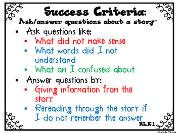 Success Criteria for Common Core Learning Targets in Reading Kinder {Editable}