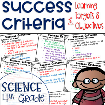 Success Criteria for Common Core Learning Targets in Science 4th {Editable}