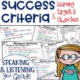 Success Criteria for Common Core Learning Targets in Speak & Listen 3rd Editable