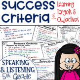 Success Criteria for Common Core Learning Targets in Speak & Listen 5th Editable