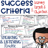 Success Criteria for Common Core Learning Targets in Speak & Listen K {Editable}