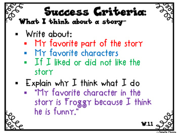 Success Criteria for Common Core Learning Targets in Writing 1st grade