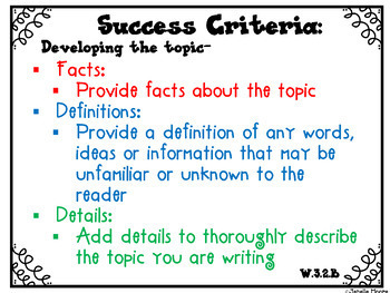Success Criteria for Common Core Learning Targets in Writing 3rd {Editable}