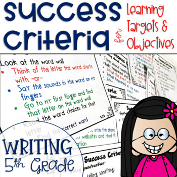 Success Criteria for Common Core Learning Targets in Writing 5th {Editable}
