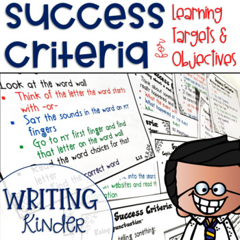 Success Criteria for Common Core Learning Targets in Writing Kinder {Editable}